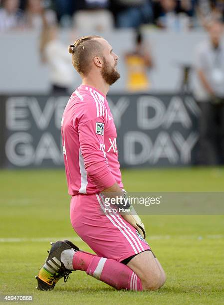 Stefan Frei of Seattle Sounders FC reacts to the goal of Marcelo Sarvas of Los Angeles Galaxy to trail 10 during the Western Conference Final at...