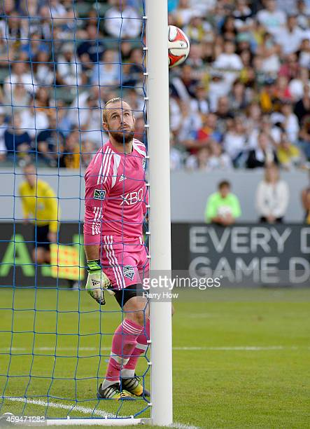 Stefan Frei of Seattle Sounders FC watches a free kick hit the goal post during the Western Conference Final against the Los Angeles Galaxy at...