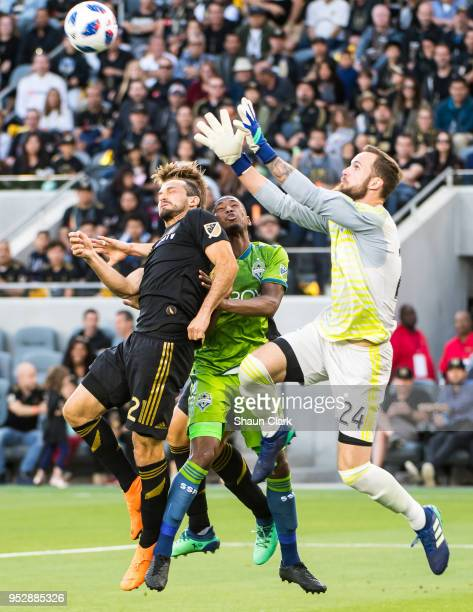 Stefan Frei of Seattle Sounders goes high for the ball during Los Angeles FC's MLS match against Seattle Sounders at the Banc of California Stadium...