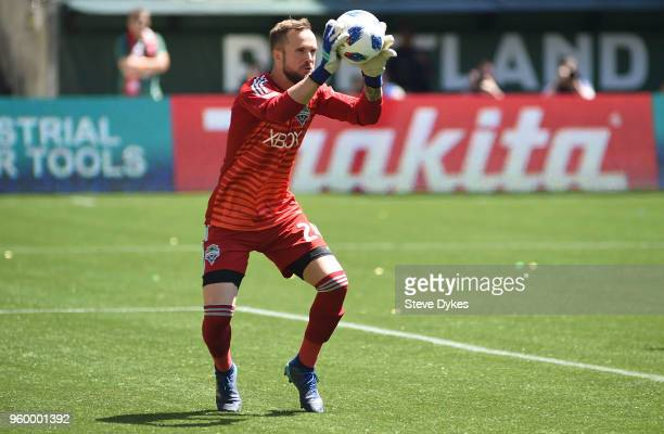 Stefan Frei of Seattle Sounders grabs the ball in front of the goal during the first half of the match against the Portland Timbers at Providence...