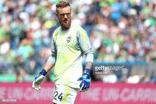 Stefan Frei of Seattle Sounders looks on in the first half agianst the Real Salt Lake during their game at CenturyLink Field on May 26 2018 in...