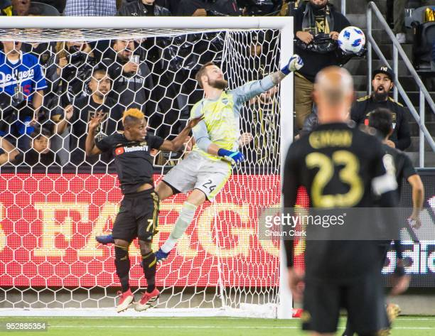 Stefan Frei of Seattle Sounders makes a big save during Los Angeles FC's MLS match against Seattle Sounders at the Banc of California Stadium on...