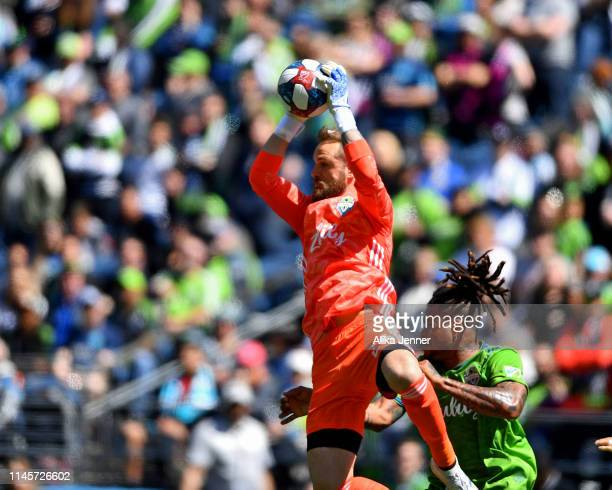 Stefan Frei of Seattle Sounders makes a leaping stop against the Los Angeles FC during the second half of the match at CenturyLink Field on April 28...
