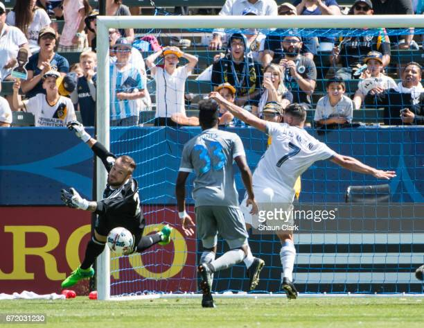 Stefan Frei of Seattle Sounders makes a save during Los Angeles Galaxy's MLS match against Seattle Sounders at the StubHub Center on April 23 2017 in...