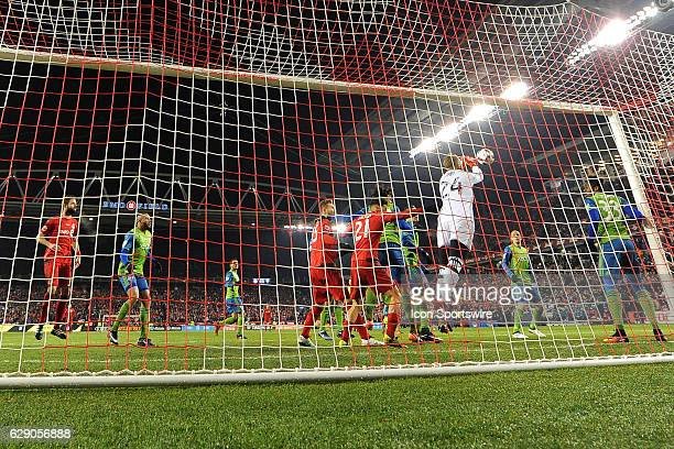 Stefan Frei of Seattle Sounders makes a save during the first half of the MLS Cup Final game between Toronto FC and Seattle Sounders on December 10...
