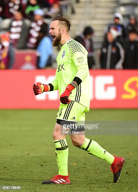 Stefan Frei of Seattle Sounders reacts to a 10 victory over the Colorado Rapids to win the MLS Western Conference at Dick's Sporting Goods Park on...