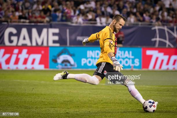 Stefan Frei of the MLS AllStar clears the ball during the MLS AllStar match between the MLS AllStars and Real Madrid at the Soldier Field on August...