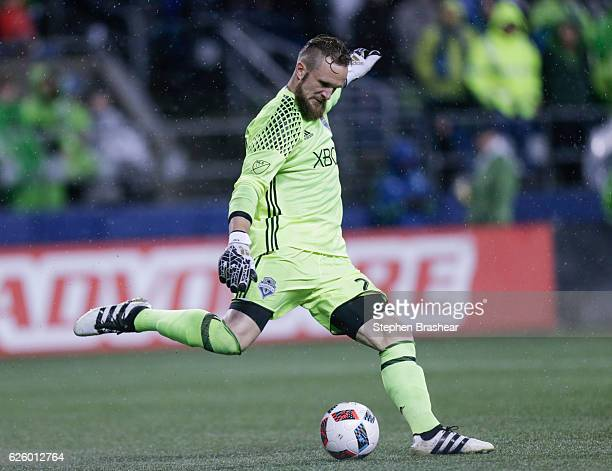 Stefan Frei of the Seattle Sounders clears the ball during match against the Colorado Rapids in the first leg of the Western Conference Finals at...