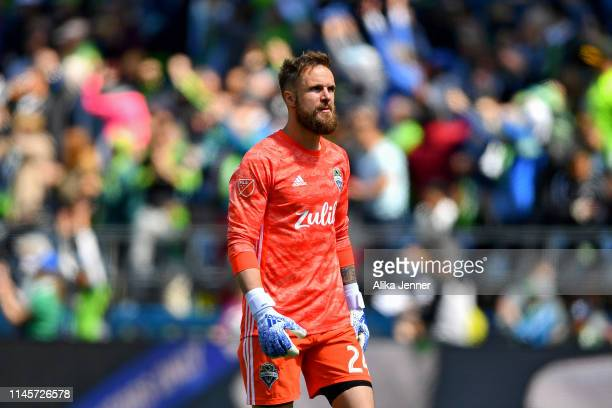 Stefan Frei of the Seattle Sounders eyes the crowd after an early Sounders score during the first half of the match against the Los Angeles FC at...