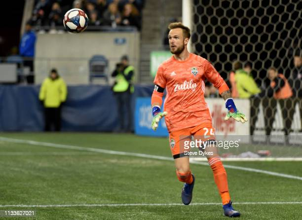 Stefan Frei of the Seattle Sounders kicks the ball during the first half of the match against FC Cincinnati at CenturyLink Field on March 2 2019 in...