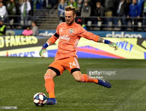 Stefan Frei of the Seattle Sounders kicks the ball during the first half of the match against FC Cincinnati at CenturyLink Field on March 2, 2019 in...