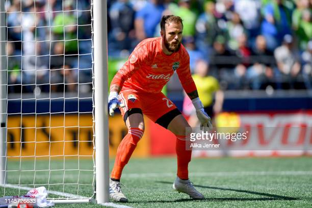 Stefan Frei of the Seattle Sounders protects the goal against the Los Angeles FC at CenturyLink Field on April 28 2019 in Seattle Washington Final...