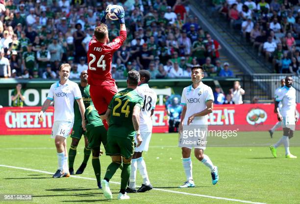 Stefan Frei of the Seattle Sounders saves a goal in the first half against the Seattle Sounders during their game at Providence Park on May 13 2018...