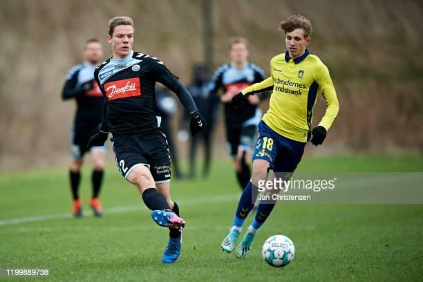 Stefan Gartenmann of SonderjyskE in action during the testmatch between Brondby IF and SonderjyskE at Brondby Stadion on February 10, 2020 in...