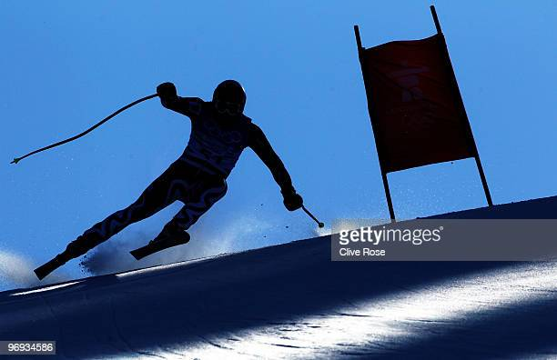 Stefan Georgiev of Bulgaria competes during the Alpine Skiing Men's Super Combined Downhill on day 10 of the Vancouver 2010 Winter Olympics at...