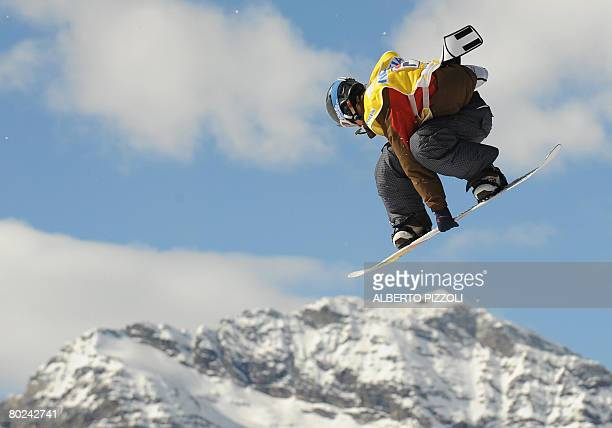 Stefan Gimpl of Austria competes during the snow boarding Big Air event at the FIS Snowboarding World Cup Grand Finals in Chiesa Valmalenco on March...