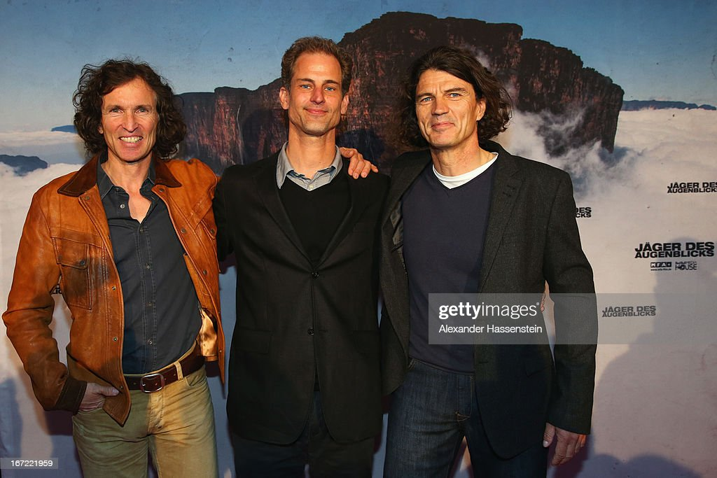 Stefan Glowacz (L) attends with Holger Heuber (R) and Philipp Manderla, Producer and Filmmaker the 'Jaeger des Augenblicks' World premiere at City Kino on April 22, 2013 in Munich, Germany. The adventure movie with climbing star Stefan Glowacz starts on April 25, 2013 in cinemas across Germany.