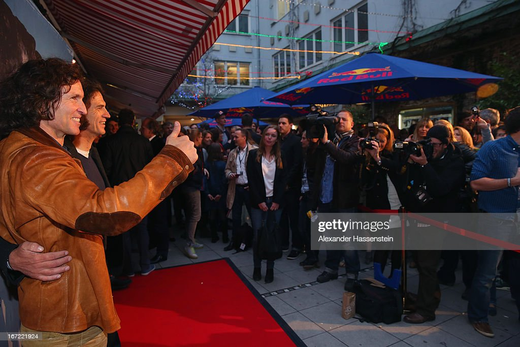 Stefan Glowacz (L) attends with Holger Heuber the 'Jaeger des Augenblicks' World premiere at City Kino on April 22, 2013 in Munich, Germany. The adventure movie with climbing star Stefan Glowacz starts on April 25, 2013 in cinemas across Germany.