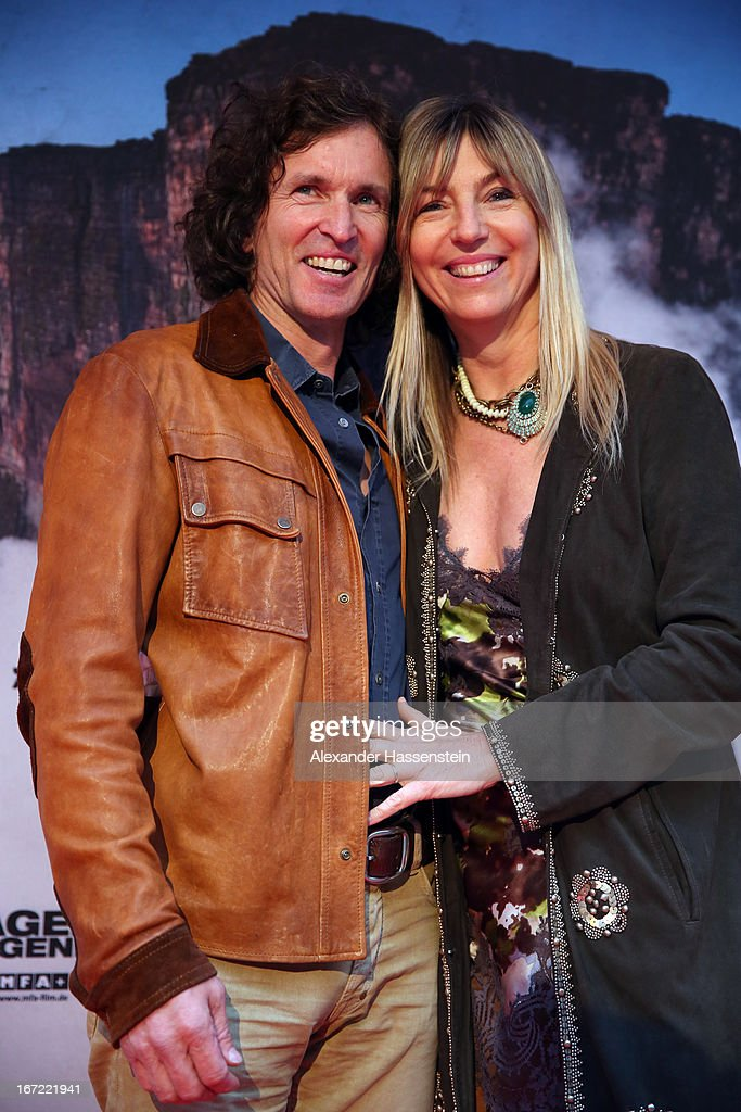 Stefan Glowacz attends with Tanja Valerien-Glowacz the 'Jaeger des Augenblicks' World premiere at City Kino on April 22, 2013 in Munich, Germany. The adventure movie with climbing star Stefan Glowacz starts on April 25, 2013 in cinemas across Germany.
