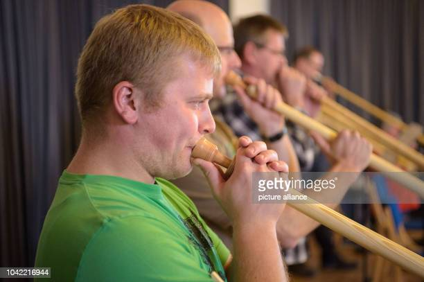 Stefan Gruber playing his alphorn during an alphorn workshop in a room at the Bayerische Musikakademie  in Hammelburg Germany 30 January 2016 The...