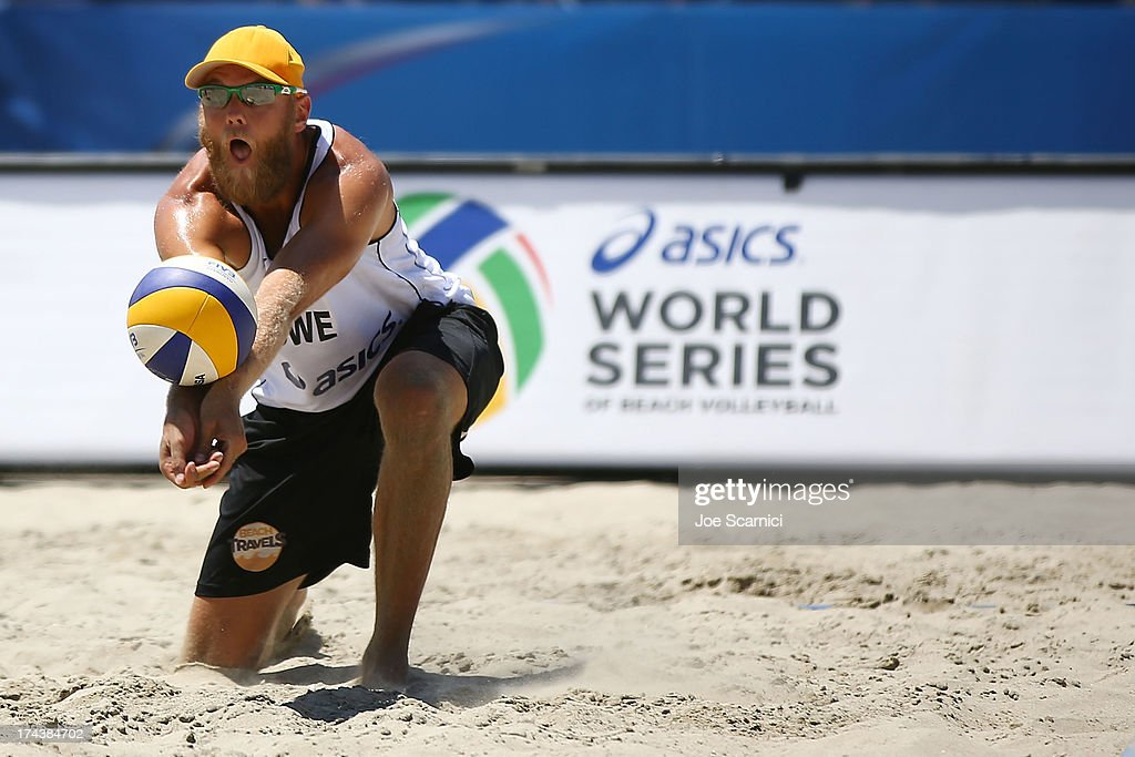 Stefan Gunnarsson of Sweden digs the ball during during the round of pool play at the ASICS World Series of Beach Volleyball - Day 3 on July 24, 2013 in Long Beach, California.