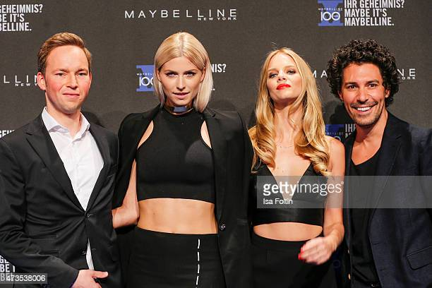 Stefan Heidrich Lena Gercke Marloes Horst and Boris Entrup attends the Maybelline 100th anniversary celebrations on May 15 2015 in Berlin Germany