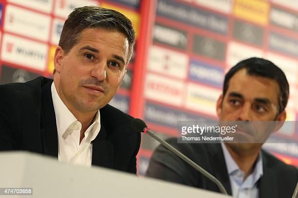 Stefan Heim financial manger of VfB Stuttgart talks during a press conference of VfB Stuttgart at MercerdesBenz Arena on May 25 2015 in Stuttgart...