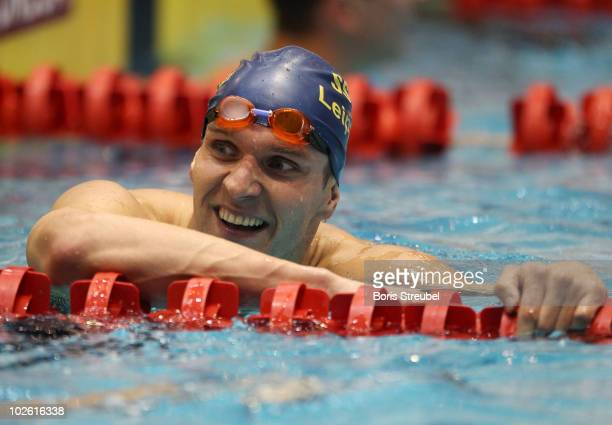 Stefan Herbst of SSG Leipzig e.V. Reacts after winning the men's 100 m backstroke A final during the German Swimming Championship 2010 at the...