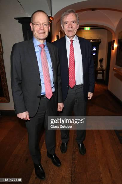 Stefan Huckemann Erdinger Weissbraeu and Georg Freiherr von Waldenfels during the UniCredit and GallerCompany business dinner on March 18 2019 at...