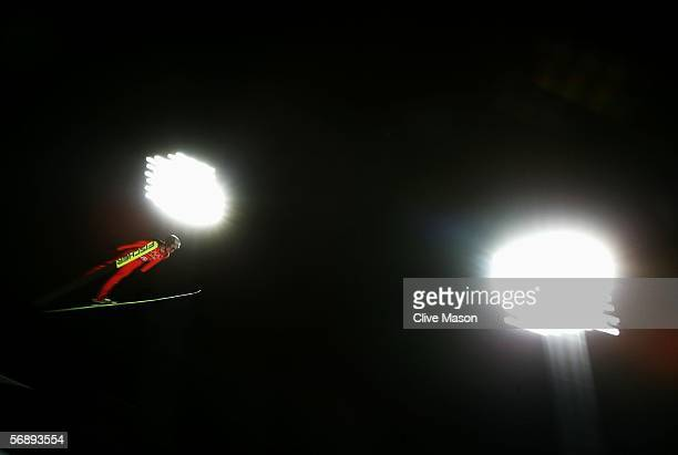Stefan Hula of Poland competes in the Team Event of the Large Hill Ski Jumping competition on Day 10 of the 2006 Turin Winter Olympic Games on...