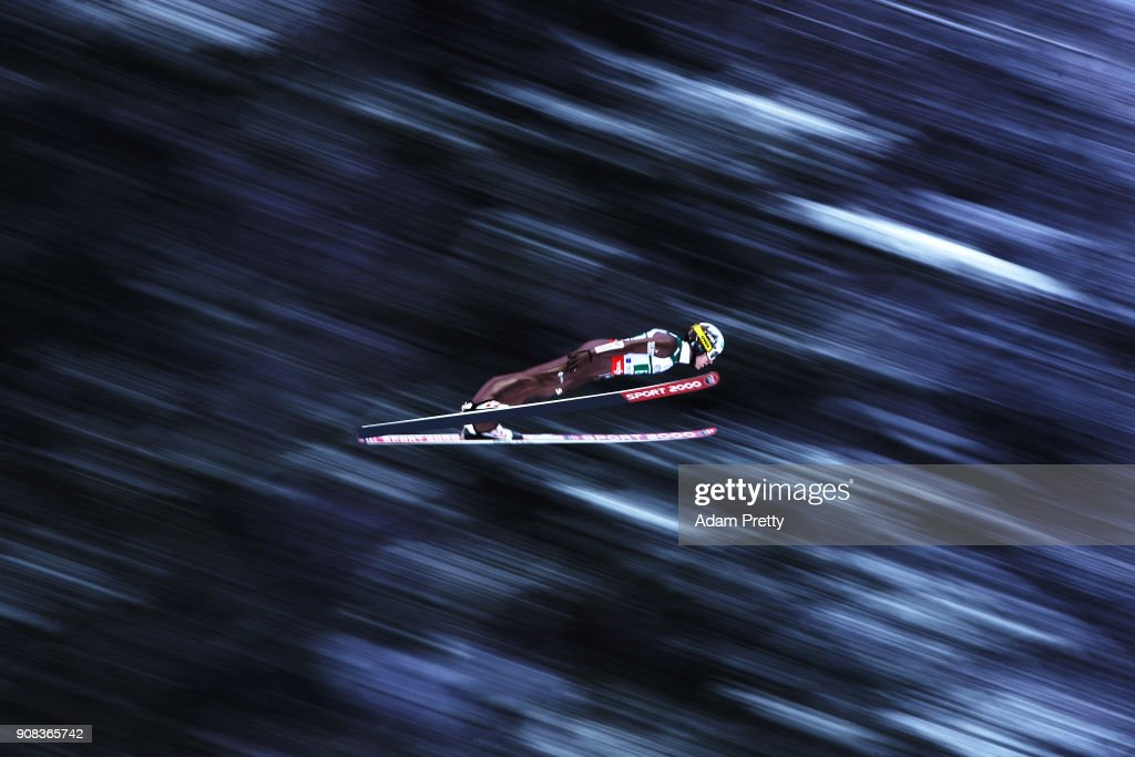 Stefan Hula of Poland soars through the air during his first competition jump of the Flying Hill Team competition of the Ski Flying World Championships on January 21, 2018 in Oberstdorf, Germany.