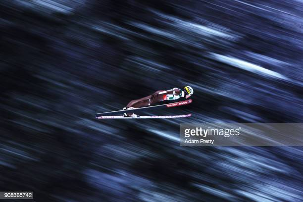 Stefan Hula of Poland soars through the air during his first competition jump of the Flying Hill Team competition of the Ski Flying World...