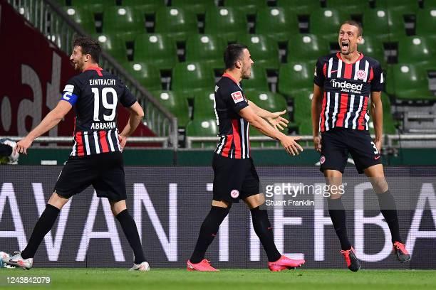 Stefan IIsanker of Eintracht Frankfurt celebrates scoring the second goal during the Bundesliga match between SV Werder Bremen and Eintracht...