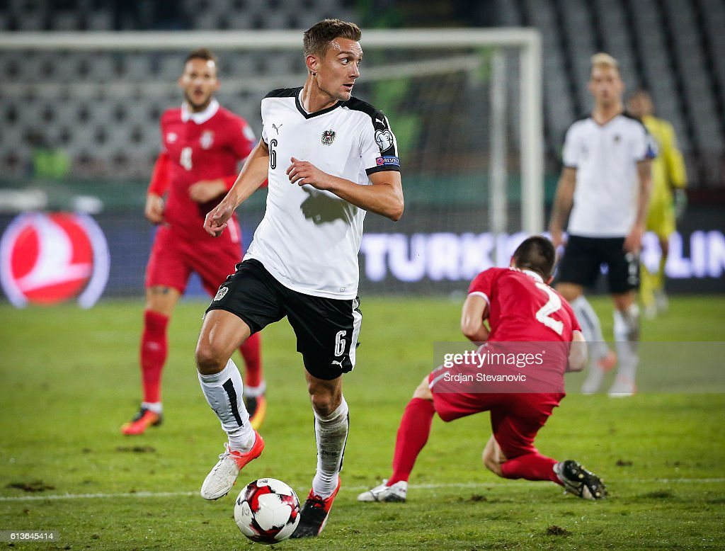 Stefan Ilsanker (R) of Austria in action during the FIFA 2018 World Cup Qualifier between Serbia and Austria at stadium Rajko Mitic on October 9, 2016 in Belgrade, .