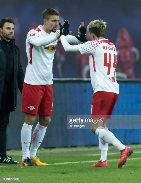 Stefan Ilsanker of Leipzig comes on as a substitute for Kevin Kampl of Leipzig during the Bundesliga match between RB Leipzig and Borussia Dortmund...