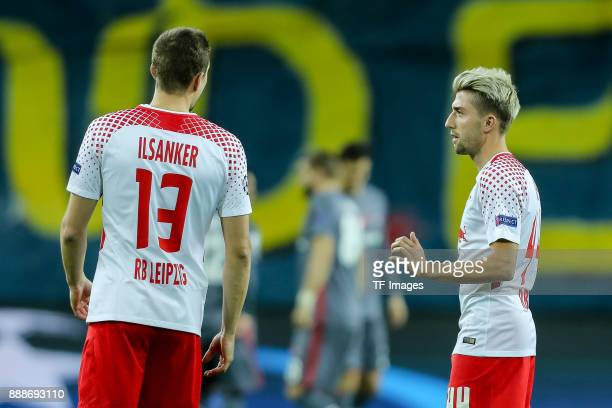 Stefan Ilsanker of Leipzig speak with Kevin Kampl of Leipzig diskussion during the UEFA Champions League group G soccer match between RB Leipzig and...
