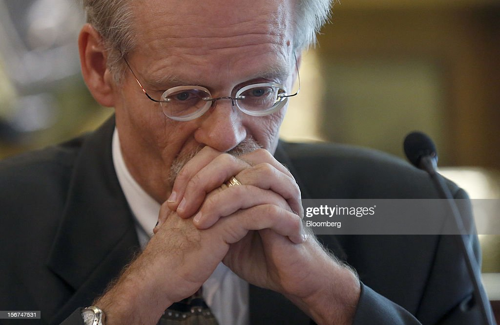 Stefan Ingves, governor of Sweden's central bank, pauses during an event hosted by the Official Monetary and Financial Institutions Forum (OMFIF) in London, U.K., on Tuesday, Nov. 20, 2012. Sweden's economy is stagnating as a recession in the euro area saps export demand, prompting companies such as Ericsson AB to cut jobs. Photographer: Simon Dawson/Bloomberg via Getty Images