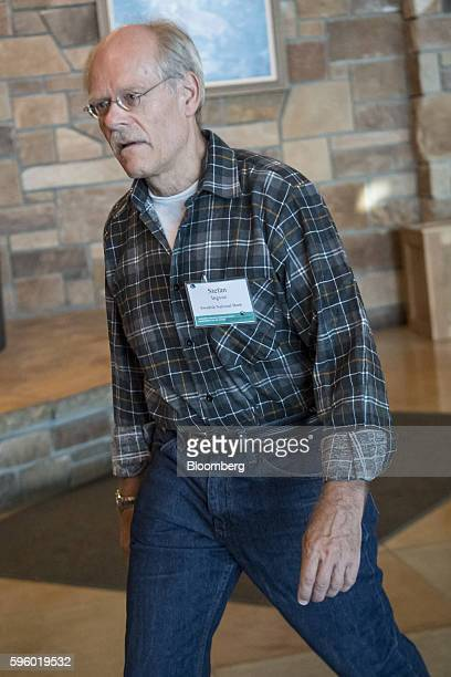 Stefan Ingves governor of the Riksbank arrives for a western themed dinner during the Jackson Hole economic symposium sponsored by the Federal...
