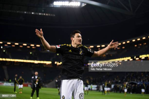 Stefan Ishizaki of AIK cheers to the fans after his last homegame for the club during the Allsvenskan match between AIK and IFK Goteborg at Friends...