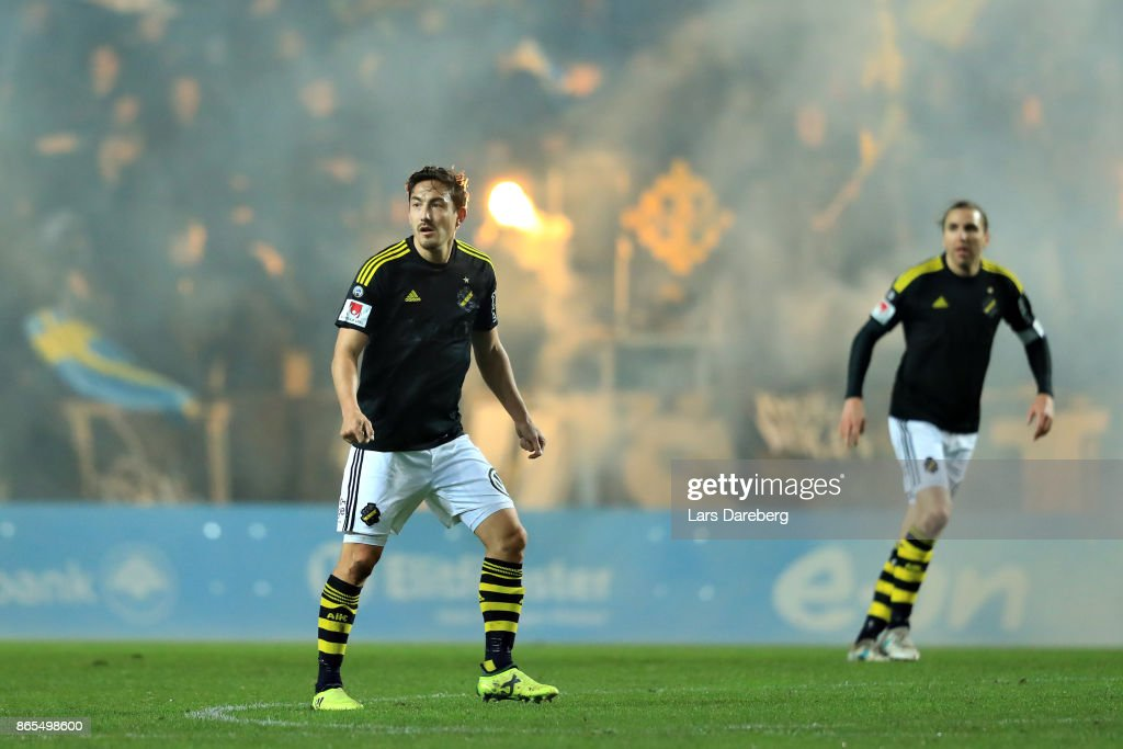 Stefan Ishizaki of AIK during the allsvenskan match between Malmo FF and AIK at Swedbank Stadion on October 23, 2017 in Malmo, Sweden.