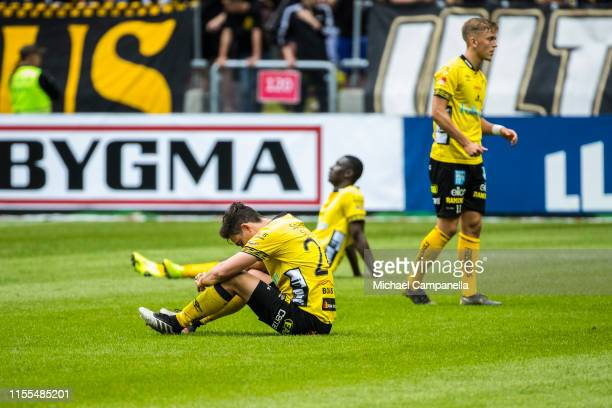 Stefan Ishizaki of IF Elfsborg and teammates dejected during an Allsvenskan match between AIK and IF Elfsborg at Friends Arena on July 13, 2019 in...