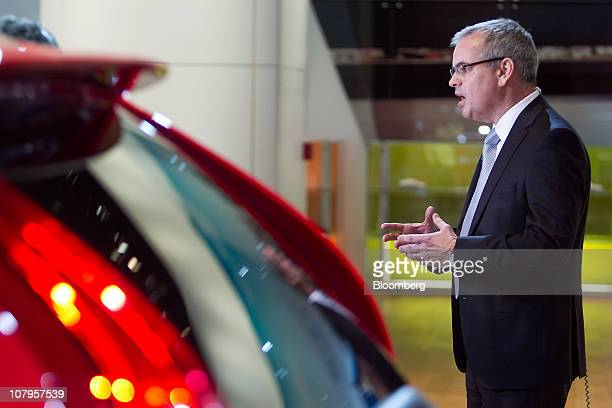 Stefan Jacoby president and chief executive officer of Volvo Cars speaks during a Bloomberg Television interview during the North American...