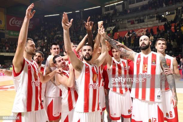 Stefan Jankovic #16 Taylor Rochestie #22 Branko Lazic #10 Ognjen Dobric #13 Pero Antic #12 Nemanja Dangubic of Crvena Zvezda mts Belgrade celebrate...