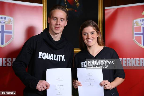 Stefan Johansen and Maren Mjelde pose for a photo during the Football Association of Norway National Team Equal Pay Agreement Announcement at the...