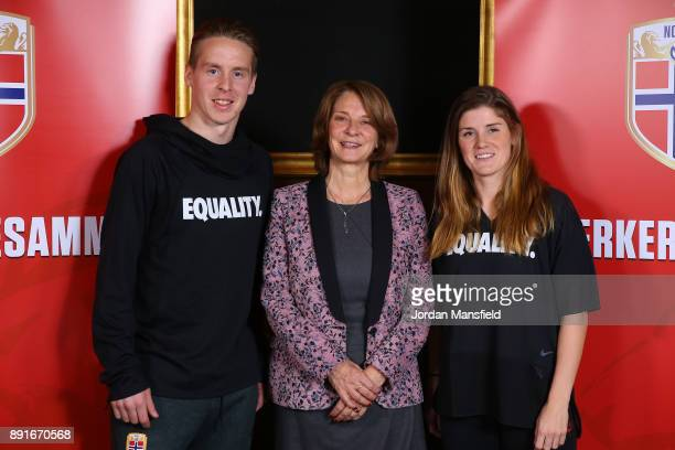 Stefan Johansen Norway's Ambassador to the UK Mona Juul and Maren Mjelde pose for a photo during the Football Association of Norway National Team...