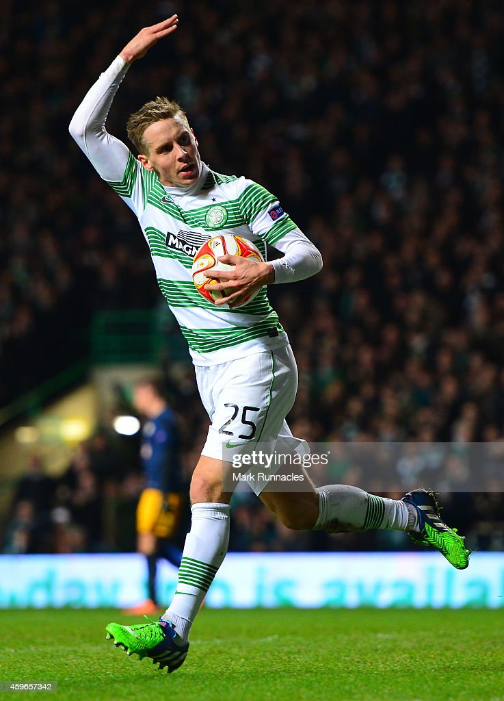 Stefan Johansen of Celtic celebrates scoring a goal late in the first half during the UEFA Europa League group D match between Celtic FC and FC Salzburg at Celtic Park on November 27, 2014 in Glasgow Scotland.