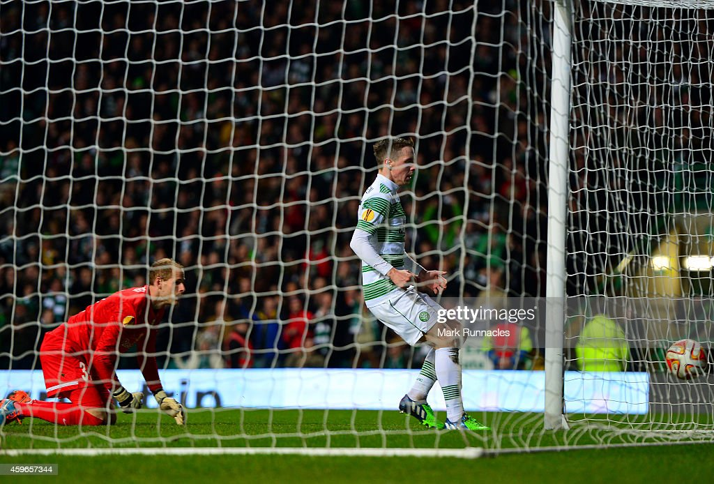 Stefan Johansen of Celtic scores a goal late in the first half during the UEFA Europa League group D match between Celtic FC and FC Salzburg at Celtic Park on November 27, 2014 in Glasgow Scotland.