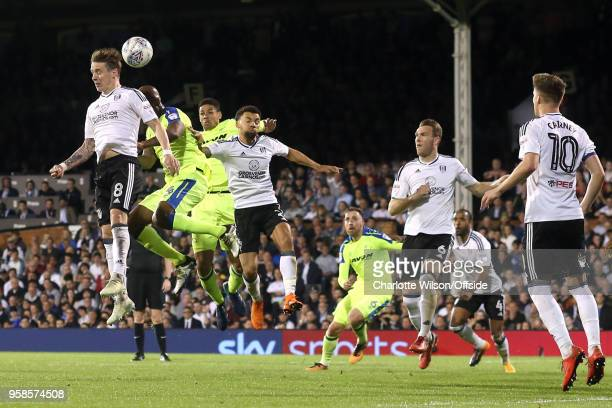 Stefan Johansen of Fulham Andre Wisdom of Derby and Ryan Fredericks of Fulham go up for a header during the Sky Bet Championship Play Off Semi...