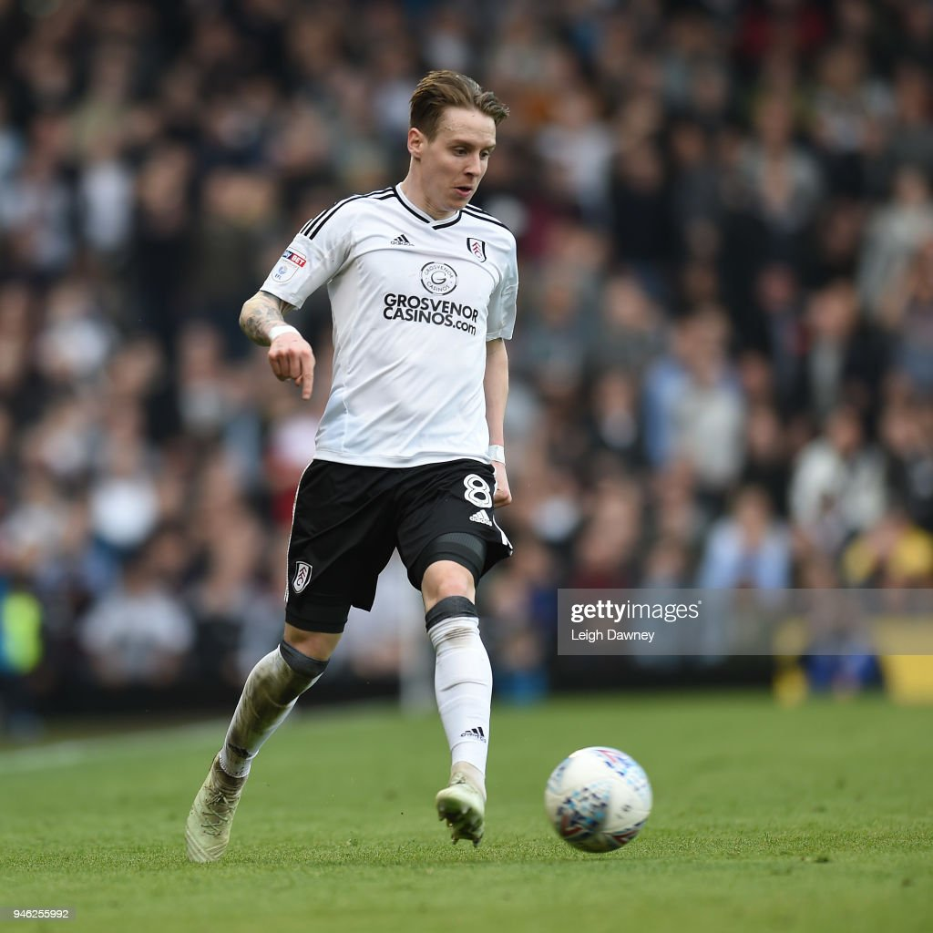 Stefan Johansen of Fulham during the Sky Bet Championship match between Fulham and Brentford at Craven Cottage on April 14, 2018 in London, England.