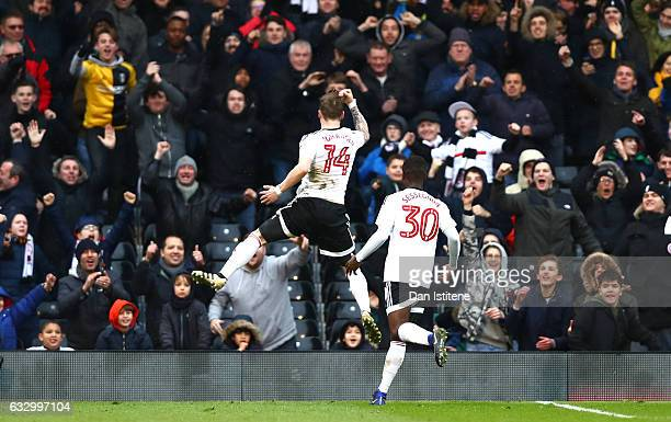 Stefan Johansen of Fulham FC celebrates scoring his sides first goal with Ryan Sessegnon of Fulham FC during The Emirates FA Cup Fourth Round match...